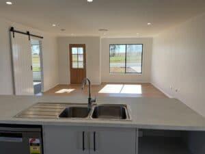 Open plan kitchen in new home, Lake Cargelligo